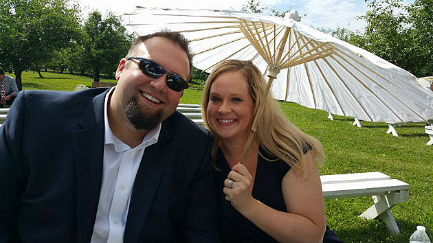 My wife and I at a REALLY hot wedding in Belle Plaine, MN on Saturday
