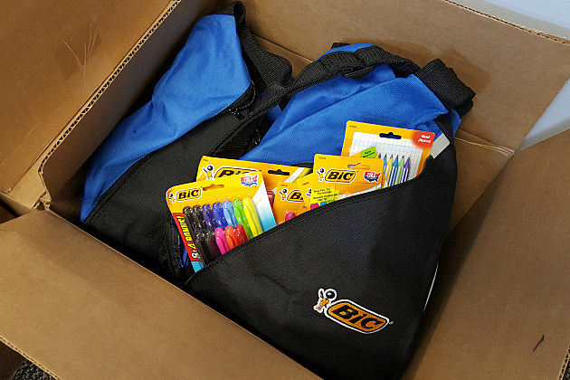 The last few Bic backpacks at the Y105 studios!