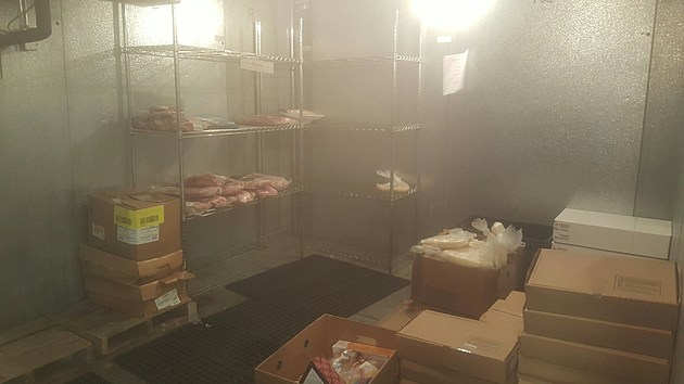 An almost empty freezer at St. Stephens Food Bank.